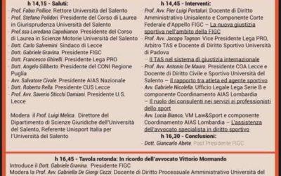 """L'ADICOSP patrocina il convegno """"L'evoluzione del diritto nello sport: il ruolo del giurista nella gestione del fenomeno sportivo"""" del 25.11.2019 a Lecce"""